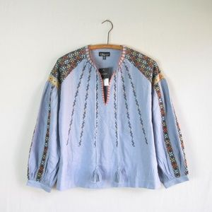 NWT Topshop blue embroidered peasant style blouse